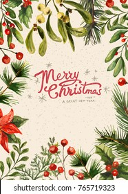 Holiday Greeting Card, floral frame and Christmas lettering