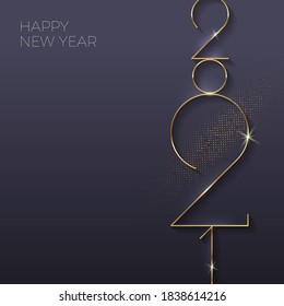 Holiday greeting card with golden 2021 New Year logo. Vector illustration. Holiday design for greeting card, invitation, calendar, etc.