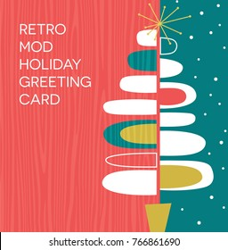 Holiday greeting card or invitation with retro abstract Christmas tree design. Space for your text.