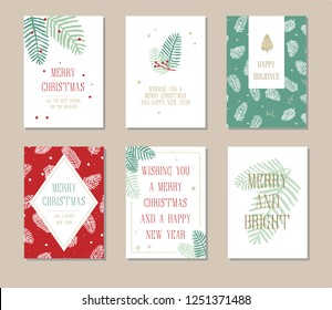 Holiday greeting card set with Christmas designs in red and green colors. Create and print your own Christmas cards with these simple design. Each card is standard 5x7inch. Scale to the size you need.