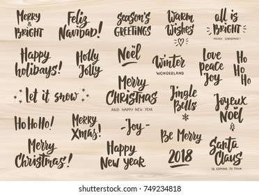 Set holiday greeting quotes wishes hand stock vector royalty free holiday greeting quotes and wishes hand drawn text letterings on wooden background merry m4hsunfo