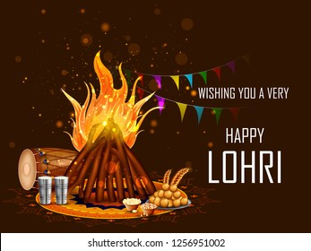 Holiday greetings background for celebrating harvest festival of Punjab India Lohri. Vector illustration