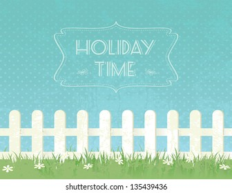 Holiday grunge textured background with fence and flowers.