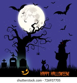Holiday Halloween, illustration night cemetery and witch, vector