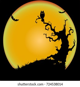 Holiday Halloween, the night of a terrible tree and an owl, illustration silhouette.Vector