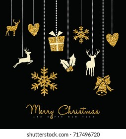 Holiday hanging gold glitter decoration with cute reindeer, snow, heart and holly elements. ideal for Christmas greeting card, Xmas poster or web. EPS10 vector.