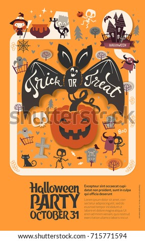 Holiday Happy Halloween Flyer Template With Funny Cartoon Smiling Bat Spread Wings And Trick Or