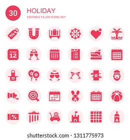 holiday icon set. Collection of 30 filled holiday icons included Label, Horseshoe, Luggage, Ferris wheel, Heart, Calendar, Toast, Yatch, Apron, Balloon, Cheers, Magic, Fishing reel