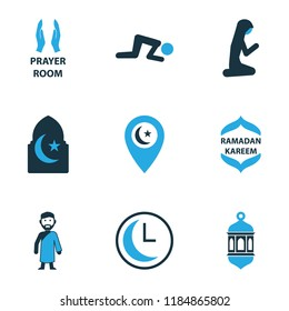 Holiday icons colored set with namaz, muslim female, room and other time elements. Isolated vector illustration holiday icons.