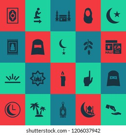 Holiday icons set with church, hajj, headscarf and other kerchief elements. Isolated vector illustration holiday icons.