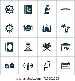 Holiday Icons Set. Collection Of Person, Man, Dishes And Other Elements. Also Includes Symbols Such As Sun, Clock, Woman.