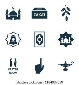 Holiday icons set with god, dates, masjid and other pray  elements. Isolated vector illustration holiday icons.
