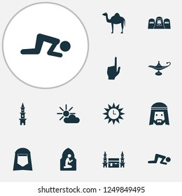 Holiday icons set with muslim, mecca, god and other nachmittag elements. Isolated vector illustration holiday icons.
