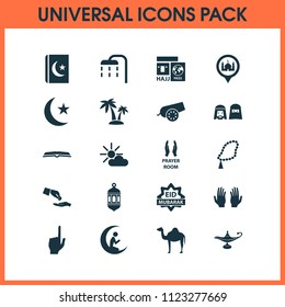 Holiday icons set with scripture, bomb, eid mubarak and other zakat elements. Isolated vector illustration holiday icons.
