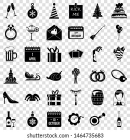 Holiday icons set. Simple style of 36 holiday vector icons for web for any design