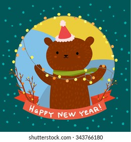 Holiday illustration with a cute bear. Christmas card with nice cartoon character. Winter greeting card.