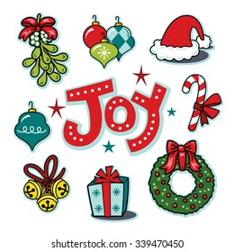 Holiday joy seasonal icons, wreath, ornaments illustration set