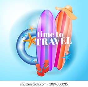 Holiday, logo, emblem, travel agency. Holidays, hello summer. Beach vacation and vacation. Ready design. Logo in the circle. Without background, white background.