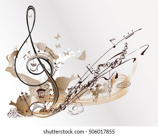 Holiday music. Abstract treble clef decorated with Christmas toys, butterflies, notes.