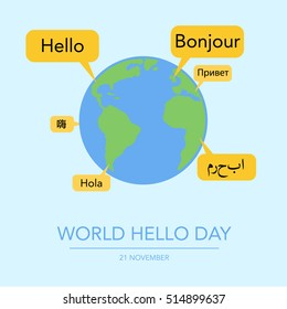 Holiday November 21 - World hello day. Card with speech bubbles with word Hello on different languages. Flat vector illustration