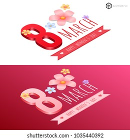 holiday on March 8, isometric logo March 8, happy women's day, March 8