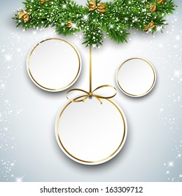 Holiday paper round labels. Christmas balls over starry background with fir branches. Vector illustration.