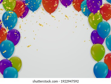 Holiday, Party banner with Balloons Background Design. Template for advertising, web,
