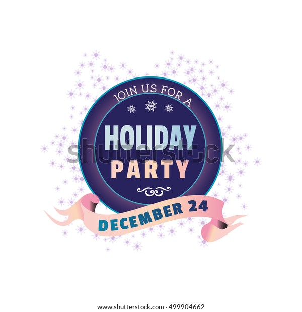 Holiday Party Invitation Poster Colorful Emblem Stock Vector ...