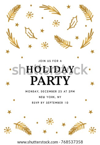 Holiday Party Invitation Template Holiday Party Stock Vector