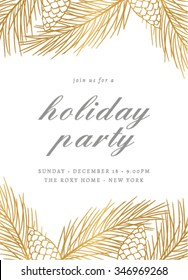Holiday Party Invitation Template with Pines Cones