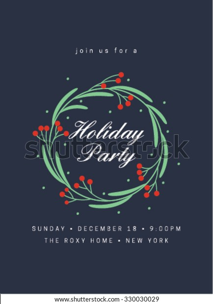 Holiday Party Invitation with Wreath. Holiday party card. Merry Christmas Greeting Card