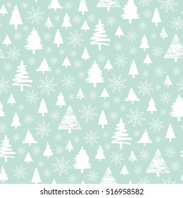 Holiday pattern, Christmas decoration. White forest on a blue background. Snow in the woods. White trees and spruce. Vector illustration.