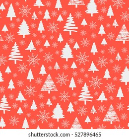 Holiday pattern, Christmas decoration. Winter forest on a coral background. Snow in the woods. White trees and spruce. Vector Illustration.