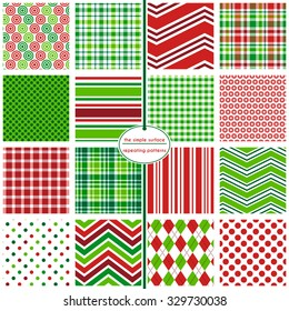 Holiday patterns: 16 repeating patterns for Christmas or holiday backgrounds, cards, gift wrap, tags and more. Red and green. Polka dots, plaids, stripes, argyle and chevrons. Modern and classic xmas.