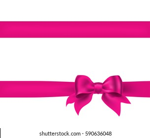 Holiday pink bow with horizontal ribbon on white. vector