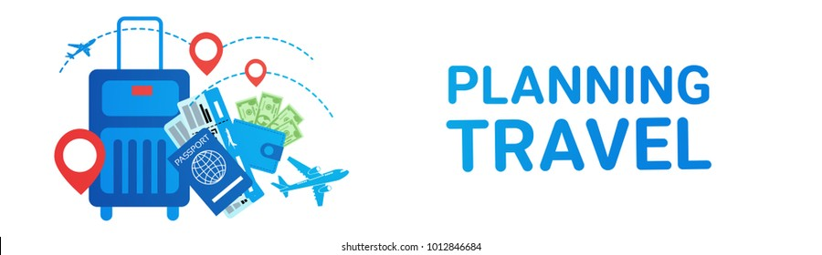Holiday Planning Travel Banner Suitcase Tour Route Transport Tickets Concept Flat Vector Illustration