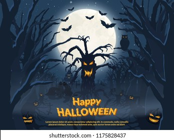 Holiday poster for Halloween. Evil tree and ghosts. Night castle and a terrible forest. Vector illustration.