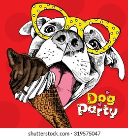 Holiday Poster of portrait funny dog in yellow glasses with ice cream on red background. Vector illustration.