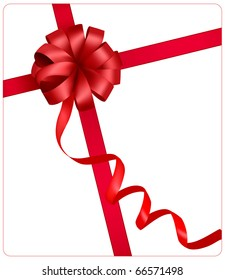 Holiday red bow with a ribbon. Vector.