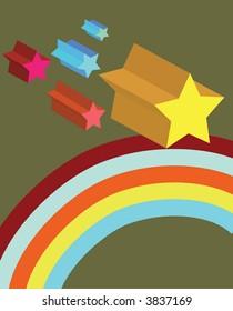 holiday retro colorful stars rainbow background