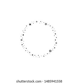 Holiday round frame with stars and glitter dots on white background. Starry circle label for text. Vector  background for card, invitation, wallpaper.