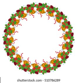 Holiday round garland decorated with pine branch, snow-flakes and cones. Christmas frame with free space for text, photo or picture. Design element for New Year decorations. Vector clip art.