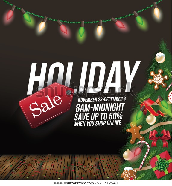 Holiday Sale Background Design Decorated Christmas Stock