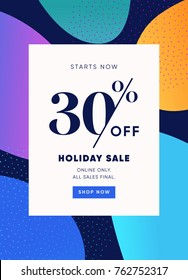 Holiday Sale Banner, 30% OFF Special Price Discount Offer. Vector Flat Design Banner. 30% Discount Coupon. Buy Now Promo Label Trendy Design Template.