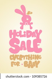 Holiday sale children's things, funny design template.