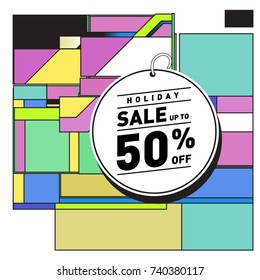 Holiday Sale Memphis Style Poster Design. Fashion and Travel Discount Poster. Vector holiday Abstract Colorful Illustration with Special offer and Promotion.