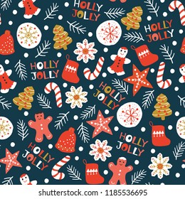 Holiday Seamless Pattern with Christmas Cookies. Xmas winter poster collection