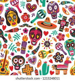 Holiday seamless pattern decorated by Mexican skulls, pepper, pinata, cross, candle, maracas, guitar, sombrero, cactus on white background. Bright colored vector illustration for festive backdrop.