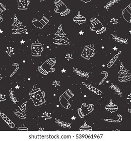 Holiday seamless pattern with ornaments and decorations. Vector illustration with sketched elements.