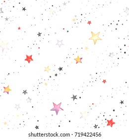 Holiday seamless pattern with texture colorful stars and dots. Abstraction illustration in vintage watercolor style on white background.